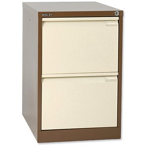 Image of Bisley Filing Cabinet / 2-Drawer / Foolscap / Brown and Cream