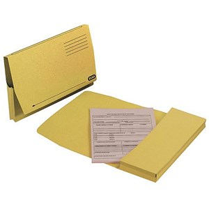 Image of Elba Document Wallet Full Flap 260gsm Capacity 32mm Foolscap Yellow Ref 100090258 [Pack 50]