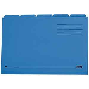 Image of Elba Tabbed Folders Recycled Heavyweight 285gsm Set of 5 Foolscap Blue Ref 100090234 [Pack 20]