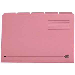 Image of Elba Tabbed Folders Recycled Heavyweight 285gsm Set of 5 Foolscap Pink Ref 100090236 [Pack 20]