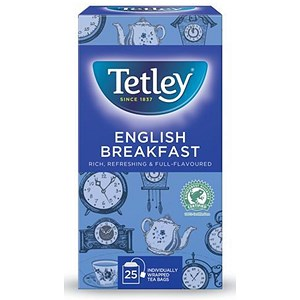 Image of Tetley English Breakfast Drawstring Tea Bags in Envelopes - Pack of 25