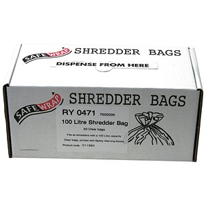 Image of Robinson Young Safewrap Shredder Bags 100 Litre Ref RY0471 [Pack 50]
