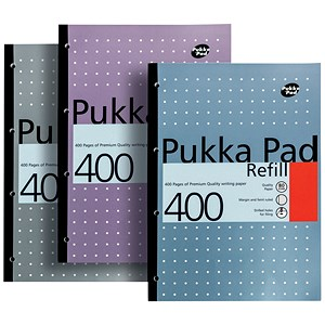 Image of Pukka Pad Sidebound Refill Pad / A4 / Ruled with Margin / Punched / 400 Pages / Pack of 5