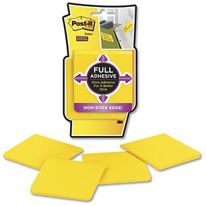Image of Post-it Super Sticky Full Adhesive Notes / 76x76mm / Yellow / Pack of 4 x 25 Notes