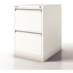 Image of Bisley Filing Cabinet / 2-Drawer / Foolscap / Chalk White