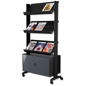 Image of Paperflow Literature Mobile Display with Three Shelves & Cupboard - Black