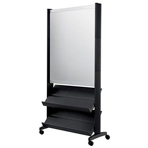 Image of Paperflow Mobile Literature Display with Two Shelves & A1 Poster Holder - Black