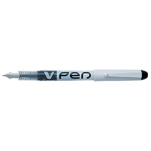 Image of Pilot V4W Disposable Fountain Pen / White Barrel with Iridium Nib / Black / Pack of 12