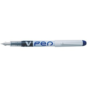 Image of Pilot V4W Disposable Fountain Pen / Silver Barrel with Iridium Nib / Blue / Pack of 12