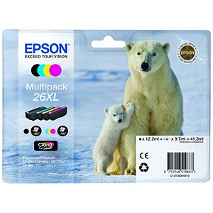 Image of Epson 26XL Inkjet Cartridge Multipack - Black, Cyan, Magenta and Yellow (4 Cartridges)