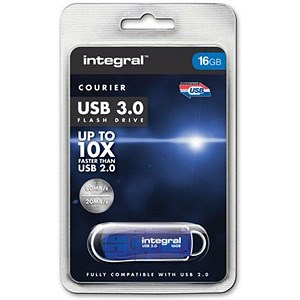 Image of Integral Courier / USB 3.0 / Flash Drive / 16GB / Blue