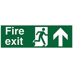 Image of Stewart Superior Fire Exit Sign - Man and Arrow Straight Up - 450x150mm - Self-adhesive Vinyl