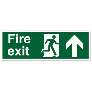 Image of Stewart Superior Fire Exit Sign Man and Arrow Straight Up 450x150mm Polypropylene Ref SP129PP