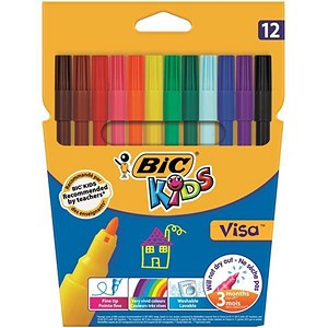 Image of Bic Kids Visa Felt Tip Pens / Washable / Fine / Assorted Colours / Pack of 12