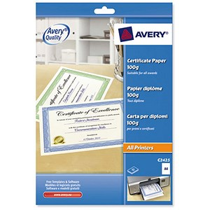 Image of Avery A4 Certificate Paper / 50% Cotton / Blue Border / Pack of 10