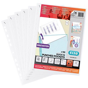 Image of Elba Heavy Duty Quick-in Punched Pockets / Polypropylene / A4 / Clear / Pack of 100