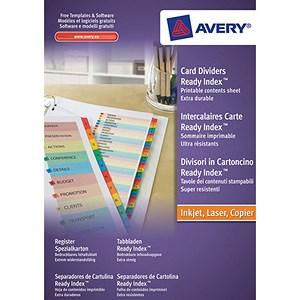 Image of Avery ReadyIndex Dividers / 1-20 / Multicoloured Mylar Tabs / A4 / White