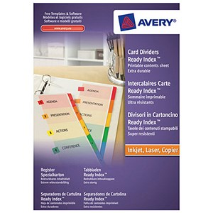 Image of Avery ReadyIndex Dividers / A4 / 5-Part / Plain Tabs