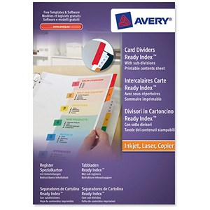Image of Avery ReadyIndex Dividers / A4+ / 1-10 / Numeric / Assorted Colours