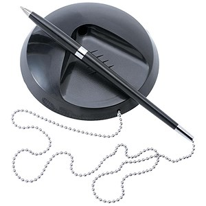 Image of 5 Star Desk Ball Pen Chained to Base - Black