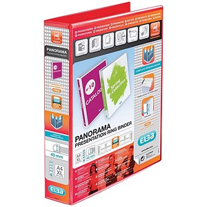Image of Elba Panorama Presentation Binder / A4 / 4 D-Ring / 40mm Capacity / Red / Pack of 6