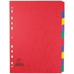 Image of Elba Heavyweight 225gsm Pressboard Dividers / Europunched / 10-Part / A4 / Assorted