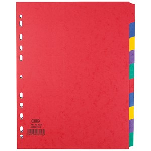 Image of Elba Heavyweight 225gsm Pressboard Dividers / Extra Wide/ Europunched / 10-Part / A4 / Assorted