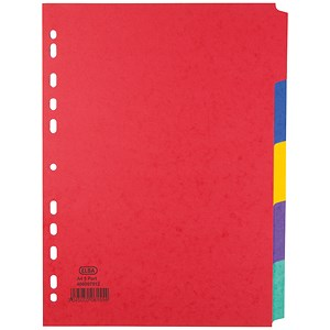 Image of Elba Heavyweight 225gsm Pressboard Dividers / Europunched / 5-Part / A4 / Assorted