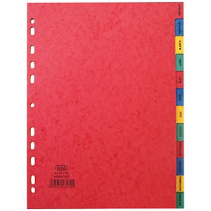 Image of Elba Heavyweight 225gsm Pressboard Dividers / Europunched / Jan-Dec / A4 / Assorted