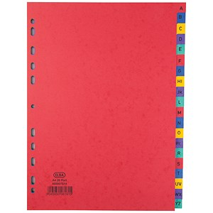 Image of Elba Heavyweight 225gsm Pressboard Dividers / Europunched / A-Z / A4 / Assorted