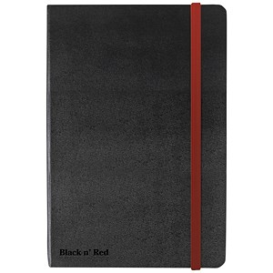 Image of Black n' Red Casebound Notebook / A6 / Ruled & Numbered / 144 Pages