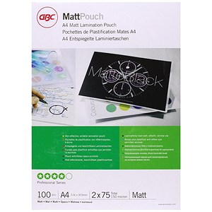 Image of GBC A4 Laminating Pouches / Thin / 150 Micron / Matt Finish / Pack of 100
