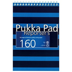 Image of Pukka Pad Navy Reporters Pad / 140x205mm / 160 Pages / Bue / Pack of 3