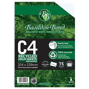Image of Basildon Bond Recycled C4 Pocket Envelopes / White / Peel & Seal / 120gsm / Pack of 15