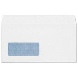 Image of Plus Fabric DL Wallet Envelopes with Window / White / Peel & Seal / 110gsm / Pack of 25