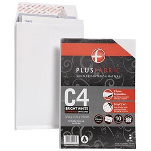 Image of Plus Fabric C4 Gusset Envelopes / 25mm Gusset / Peel & Seal / White / Pack of 10
