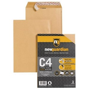 Image of New Guardian Heavyweight C4 Pocket Envelopes / Manilla / Peel & Seal / 130gsm / Pack of 25