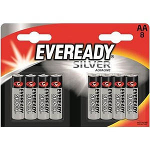 Image of Eveready Silver Alkaline Battery / AA / Pack of 8