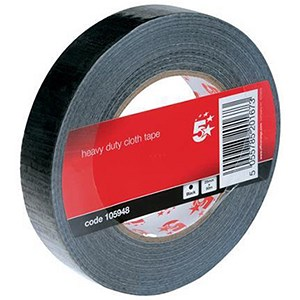 Image of 5 Star Heavy/Duty Cloth Tape Roll / 25mmx50m / Black