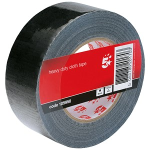 Image of 5 Star Heavy/Duty Cloth Tape Roll / 50mmx50m / Black