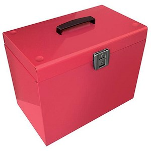 Image of Metal File Box with 5 A4 Suspension Files, Tabs & Inserts / Pink