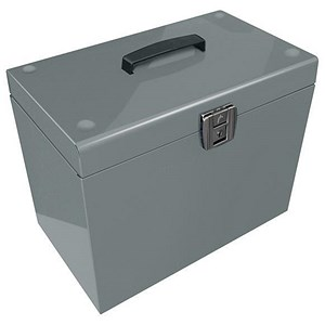 Image of Metal File Box with 5 A4 Suspension Files, Tabs & Inserts / Silver