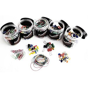 Image of Office Essentials Assorted Pins, Clips and Rubber Bands - Multicolour - 5 Tubs