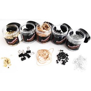 Image of Office Essentials Assorted Pins, Clips and Rubber Bands - 5 Tubs