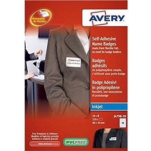 Image of Avery Self-adhesive Name Badges / 16 per Sheet / 80x30mm / White / J4798-20 / 320 Labels