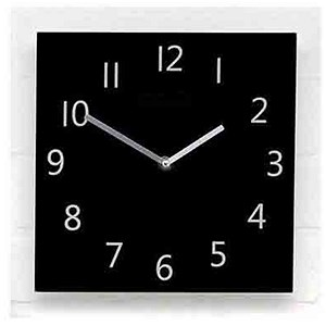 Image of Wall Clock Square Black Face Ref 2100H-BK
