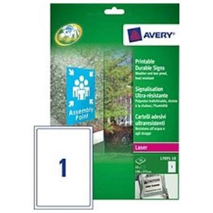 Image of Avery Durable Self-adhesive Signs / 1 per Sheet / 190x275mm / L7091-10 / 10 Signs
