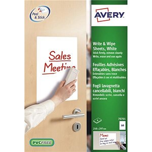 Image of Avery Write and Wipe / A4 Sheets / 70701 / 4 Sheets