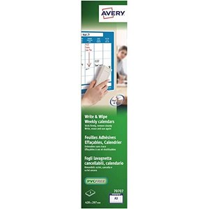 Image of Avery Write and Wipe / Weekly Calendar A3 Sheets / 70707 / 3 Sheets