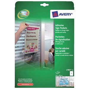 Image of Avery Self-Adhesive Sign Pockets / 1 per Sheet / 221x304mm / L7083-10 / 10 Signs